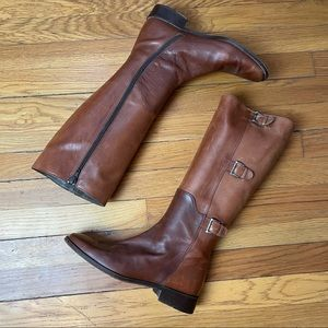Cole Haan Two Tone Brown Leather Riding Boot